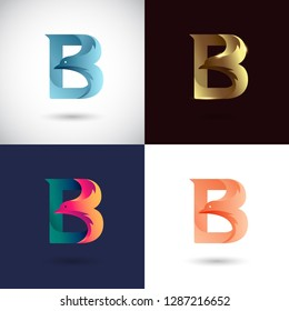 Creative Letter B logo design with Dove Bird concept for Business Company . Abstract letter logo Design Template with different color version set.