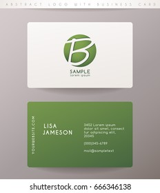 Creative Letter B Logo Design with Business Card Template : Vector Illustration