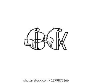 creative letter BK rounded shape monogram flourishes ornament logotype