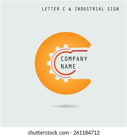 Creative letter C icon abstract logo design vector template with industry and gear symbol. Corporate business and industrial creative logotype symbol.Vector illustration