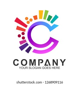 creative letter C logo design, colorful letter C logo