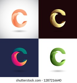 Creative Letter C logo design with Dove Bird concept for Business Company . Abstract letter logo Design Template with different color version set.