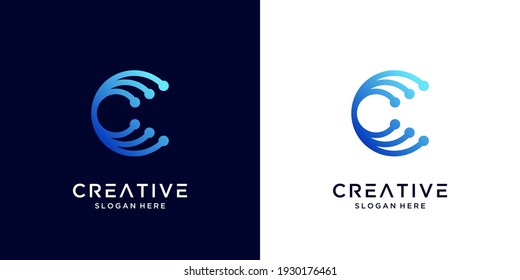 Creative Letter C logo design with point or dot symbol