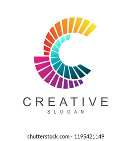 creative letter c logo with line spread shape