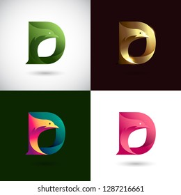 Creative Letter D logo design with Dove Bird concept for Business Company . Abstract letter logo Design Template with different color version set.