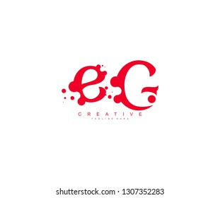 creative letter EG with dots shape trendy abstract logo design