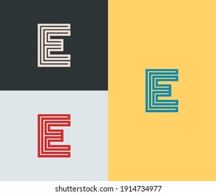 Creative letter E logo vector template. Abstract initial letter symbol. Alphabeth sign for business, industry, company, corporate. Eps 10. Geometry line icon.