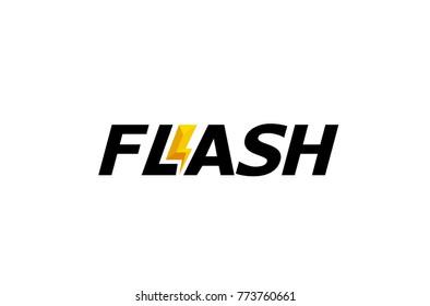 Creative Letter Flash Text  Symbol Design Illustration