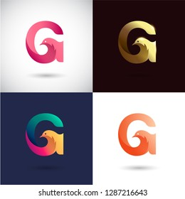 Creative Letter G logo design with Dove Bird concept for Business Company . Abstract letter logo Design Template with different color version set.
