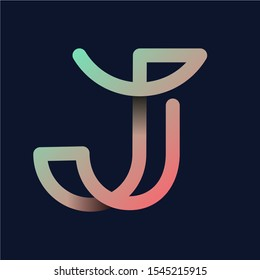 "Creative Letter ""J"" Rainbow logo icon isolated on dark background. Trend Letter logo template with rainbow and anagram symbol. Vector Illustration."