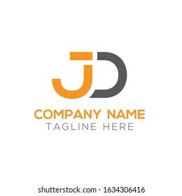 Creative letter JD Logo Design Vector Template. Initial Linked Letter JD Logo Design