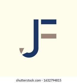 Creative letter JF Logo Design Vector Template. Initial Linked Letter JF Logo Design