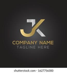 Creative letter JK Logo Design Vector Template. Initial Linked Letter JK Logo Design