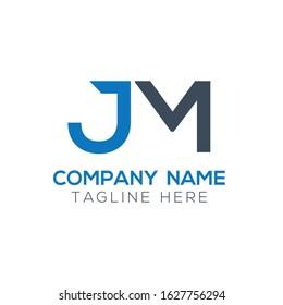 Creative letter JM Logo Design Vector Template. Initial Linked Letter JM Logo Design