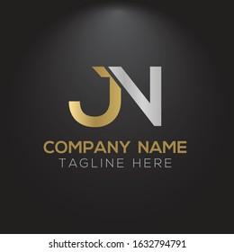 Creative letter JN Logo Design Vector Template. Initial Linked Letter JN Logo Design