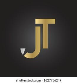 Creative letter JT Logo Design Vector Template. Initial Linked Letter JT Logo Design