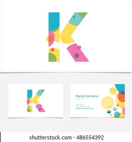 "Creative Letter ""K"" design vector template on The Business Card Template. Abstract Colorful Alphabet .Friendly funny ABC Typeface. Type Characters"