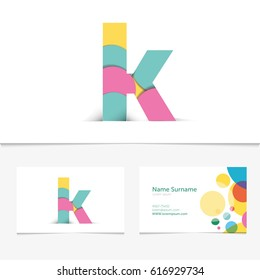 Creative Letter k design vector template on The Business Card Template. Abstract Colorful Alphabet .Friendly funny abc Typeface. Type Characters.Vector illustration.EPS10