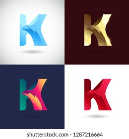Creative Letter K logo design with Dove Bird concept for Business Company . Abstract letter logo Design Template with different color version set.
