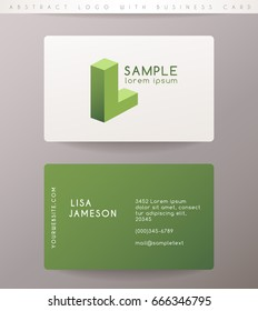 Creative Letter L Logo Design with Business Card Template : Vector Illustration