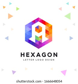 Creative A Letter Logo Colorful Mosaic and Hexagon Pattern Icon Design template Element for Your Company Business