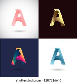 Creative Letter A logo design with Dove Bird concept for Business Company . Abstract letter logo Design Template with different color version set.