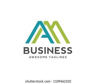 creative Letter AM logo design template elements.