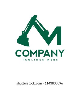 creative letter M as excavators Construction machinery logo, Hydraulic mining excavator vector logo