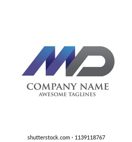 creative letter MD logo vector illustration template