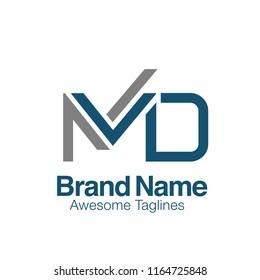 creative letter md logo vector concept element
