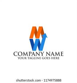 Creative letter MW logo vector illustration template, MW Logo icon, MW logo vector illustration template with arrow