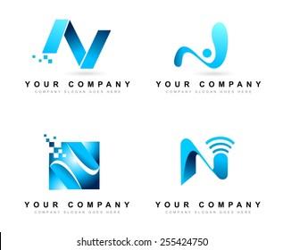 Creative Letter N logo Design Concepts. Creative letter N  Vector Logo set.