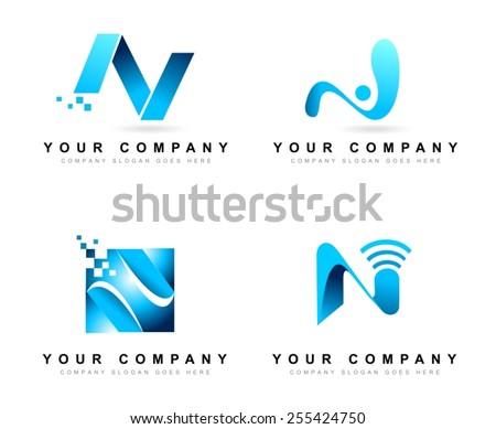 vetor stock de creative letter n logo design concepts livre de