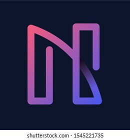 "Creative Letter ""N"" Rainbow logo icon isolated on dark background. Trend Letter logo template with rainbow and anagram symbol. Vector Illustration."