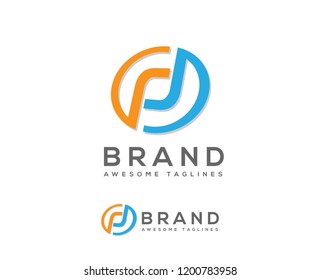 creative letter p and d circle color logo concept