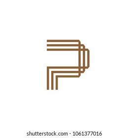 creative letter p line logo concept