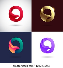 Creative Letter Q logo design with Dove Bird concept for Business Company . Abstract letter logo Design Template with different color version set.