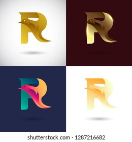 Creative Letter R logo design with Dove Bird concept for Business Company . Abstract letter logo Design Template with different color version set.
