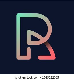 "Creative Letter ""R"" Rainbow logo icon isolated on dark background. Trend Letter logo template with rainbow and anagram symbol. Vector Illustration."