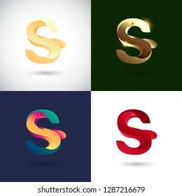 Creative Letter S logo design with Dove Bird concept for Business Company . Abstract letter logo Design Template with different color version set.