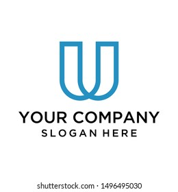 Creative letter U logo with line art style for business company