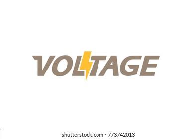 Creative Letter Voltage Text  Symbol Design Illustration
