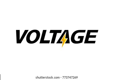 Creative Letter Voltage Text  Symbol Design Illustration