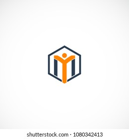 Creative Letter Y M Person Design Vector