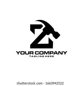 Creative Letter Z and hammer logo design inspiration