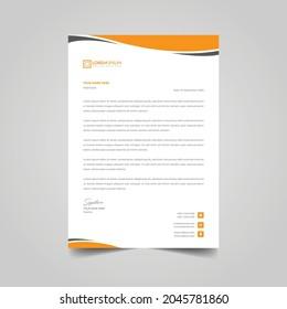 Creative Letterhead Design Template Vector Illustration Orange Color