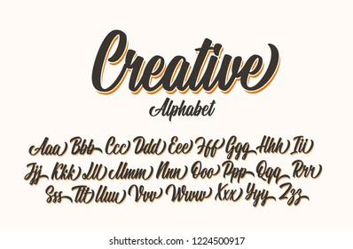 Creative lettering alphabet. Vector font.
