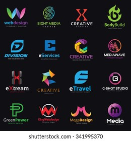 Creative Lettering Logo set, Web and media design icon, Sport technology, Travel and green business concept symbols.