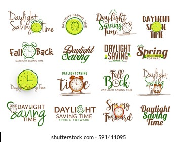 Creative Lettering Set For Daylight Saving Time.