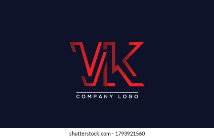Creative Letters VK, KV Logo Design Vector Template. Initial Letters VK Logo Design